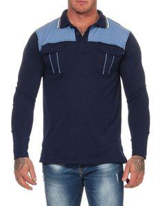 Herren Polo Shirt Langarm Longsleeve mit Brusttaschen, Dunkelblau M