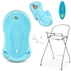 4 - Set Babybadewanne mit Gestell - Neugeborenen Set - Babywanne + Ständer + Babybadesitz + abflussschlauch + Nuk Thermomether