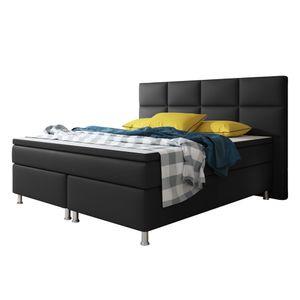 Boxspringbett Miami mit Bettkasten 180x200 cm Kunstleder schwarz
