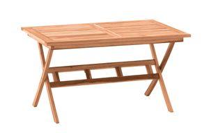 Möbilia Gartentisch rechteckig 135 cm   Esstisch aus Teak Holz mit Schirmaussparung   zusammenklappbar   B 135 x T 85 x H 75 cm   natur   11020018   Serie GARTEN