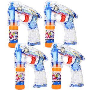 Mabax 4X Seifenblasen-Pistole mit 8X Seifenblasenlösung | LED-Licht - Sound - Handlich | Für Party - Karneval - Fasching - Hochzeit - Events | HBT: 16 x 13 x 5 cm - transparent