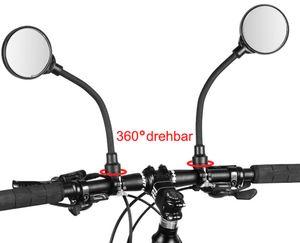 Fahrradspiegel Rückspiegel Lenkerspiegel in Paar (2 Stk.) verstellbar u. drehbar für Fahrrad/E-Bike/E-Scooter/Kinder-Rad