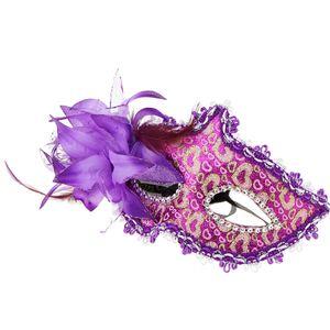 Blumendekor Venezianische Augenmaske Maskerade / Masquerade Maske, Einheitsgröße für Alle, aus Plastik Lila wie beschrieben