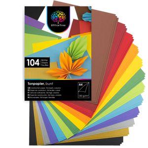 OfficeTree 104 Blatt Bastelpapier - Bastelset Kinder - Tonpapier A4 130g/m² zum Basteln Gestalten -