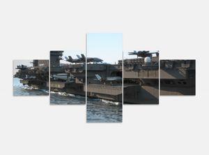 Leinwandbild 5 tlg. 200cmx100cm Flugzeug Flugzeugträger Krieg Schiff Bilder Druck auf Leinwand Bild Kunstdruck mehrteilig Holz 9YA803, 5Tlg 200x100cm:5Tlg 200x100cm