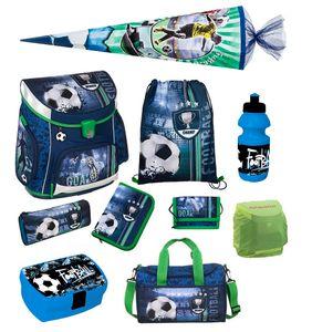 Fußball Schulranzen Set 10tlg Scooli Campus Sporttasche Schultüte blau Football Ranzen 1. Klasse Einschulung