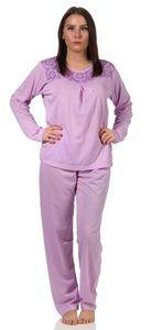 Damen Pyjama lang zweiteiliger Schlafanzug, Flieder XL