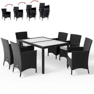Casaria Poly Rattan 6+1 Sitzgruppe stapelbare Stühle 7cm dicke Sitzauflagen Gartentisch wetterfestes Polyrattan Schwarz - Gartenmöbel Sitzgarnitur Essgruppe Garten Set