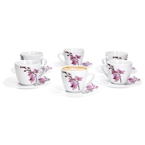 6er Set Kaffeetasse mit Kaffeeuntertasse Kyoto Orchidee