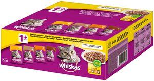 Whiskas Adult 1+ | Katzenfutter Geflügel Auswahl in Gelee Multipack 80x100g