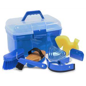Putzbox Piccolo mit Inhalt, Putzbox Putzkiste gefüllt mit Zubehör Pferde 053/84, Farbe:lila