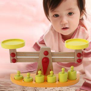 Kinder Waage Spielwaage Kaufladenwaage Balancewaage aus Holz mit Gewichten Lerspielzeug
