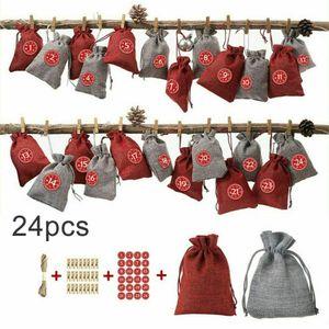 Adventskalender zum Befüllen Weihnachten Säckchen Decor 24 Stoffbeutel(2 Farben)
