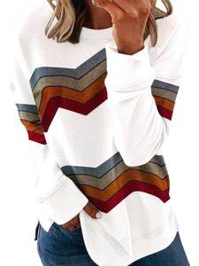 Damen Herbst Winter Langarm Streifen Blusen Casual Loose T-Shirts,Farbe: Weiß,Größe:M