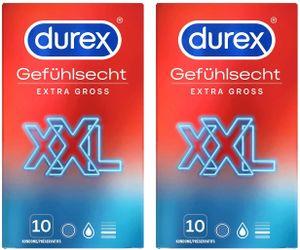Durex Gefühlsecht Extra Groß Kondome XXL für intensives Empfinden 20 Stück