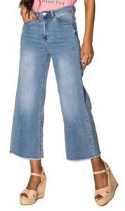 Damen High Waist Flare Straight Jeans Weite Retro Stretch Boyfriend Pants Cropped Schlag Hose , Farben:Hellblau, Größe:36