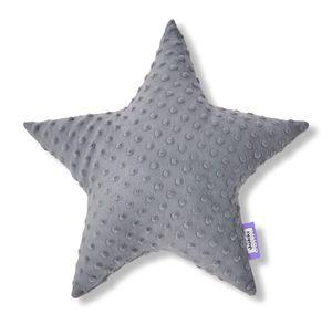 JUKKI® DekoKissen für Kinderzimmer ★ STERN [Grau] 40cm Plüsch MINKY Kopfkissen für Kinder Kuschelkissen Plüschkissen