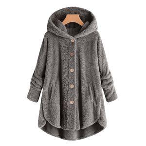 Frauen Plus Size Button Plüschoberteile Kapuze Lose Strickjacke Wollmantel Winterjacke Größe:S,Farbe:Dunkelgrau