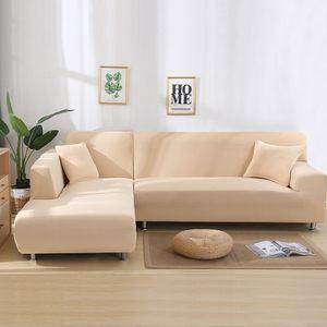 2 Stück Normale 3-Sitzer-Sofabezüge Stretch-Schonbezüge für Schnittsofa Geteiltes L-förmig Sofa,Beige