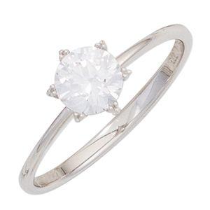 Solitär Ring Damenring mit Zirkonia weiß 333 Gold Weißgold Fingerschmuck, Ringgröße:Innenumfang 50mm  Ø15.9mm