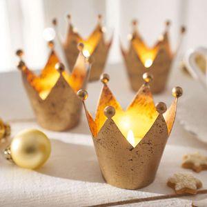 Teelichthalter Set 4tlg Krone Kerzenhalter Weihnachtsdekoration Tischdeko H7Ø8cm