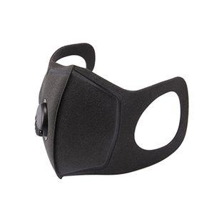 1X Staubdichte Mund-Ma-sk-Schwammmaske mit Atemventil Waschbare wiederverwendbare Masken Antibeschlag-Mundschutz【schwarz】