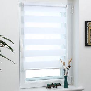 Grandekor Doppelrollo Klemmfix ohne Bohren 100x150cm Weiß lichtdurchlässig & verdunkelnd Duo Roll Klemmrollo für Fenster und Tür Fensterrollo Zebrarollo