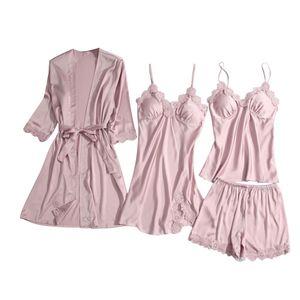 Satin Silk Pyjamas Frauen Nachthemd Dessous Roben Unterwäsche Nachtwäsche y Größe:S,Farbe:Rosa