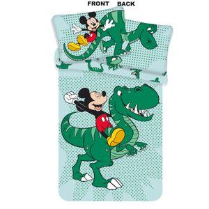 Mickey Maus mit Dino - Baby Baumwoll-Bettwäsche  - Set 100x135 40x60cm