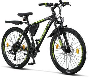 Licorne Bike Effect Premium Mountainbike - Fahrrad für Jungen, Mädchen, Herren und Damen - Shimano 21 Gang-Schaltung - Herrenrad, Farbe:Schwarz/Lime (2xDisc-Bremse), Zoll:26.00