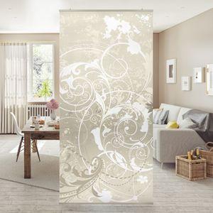 Raumteiler - Perlmutt Ornament Design 250x120cm, Aufhängung:inkl. transparenter Halterung