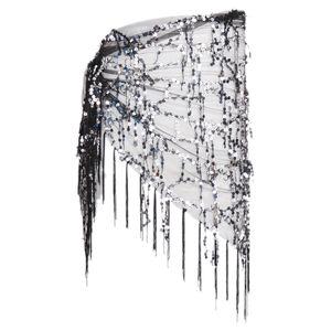 Damen Bauchtanz Kostüm Hüftgürtel Hüfttuch Tanztuch Pailletten Gürtel Tuch Dreieck Wickelrock Farbe Schwarz + Silber
