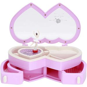 Mllaid Doppelherzform Schöne stilvolle Spieluhr Schmuckkästchen mit tanzendem Mädchen Spieluhr Geburtstagsgeschenk für Kinder Mädchen Heimdekoration Tisch Ornament