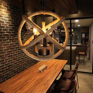 OUKANING Industrial Vintage Deckenleuchte,Hanfseil Hängelampe Retro Industrie Kronleuchter Loft Lampe 5-Flammig Leuchte Einstellbare Länge