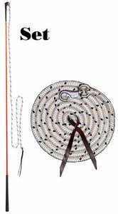 AMKA  Bodenarbeit Set mit Kontaktstock in ROT mit Seil und Bodenarbeitseil Pferde Bodenarbeit