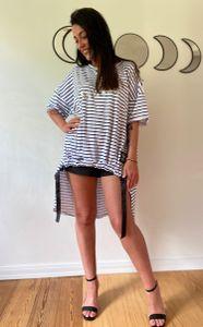 Oversize T-Shirt Rundhals gestreift, Größe:Einheitsgröße, Farbe:weiß-blau