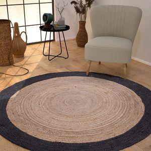 Wohnzimmer Teppich Jute Rund Modern Boho Handgefertigt Natur-Teppich Bordüre, Farbe:Schwarz, Größe:Ø 120 cm Rund