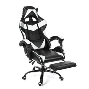 Meco Gaming-Stuhl Drehstuhl Sportsitz  Racing Stuhl Bürostuhl Schreibtischstuhl Chefsessel 150kg mit Fußstütze Kopfstützen Massage ergonomisch höhenverstellbar weiss