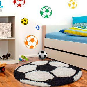 Wunderschöne Kinderteppich  rund , Höhe 30 mm, Fußball Motiv, Größe:Ø 120 cm Rund, Farbe:Schwarz