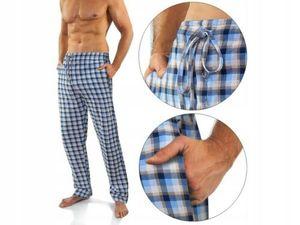 Herren Schlafhose lange karierte Pyjamahose Sesto Senso MILO2 Baumwolle Navy Winter Warm - NR 11 XL