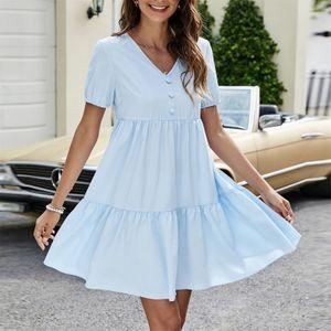 Mode Damen Einfarbig V-Ausschnitt Knopffalten Kurze Ärmel Kleid Farbe:Hellblau,Größe:L