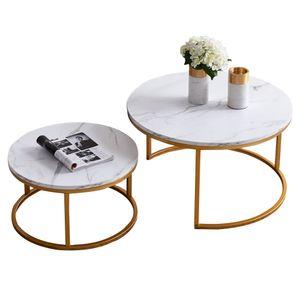 Tiema 2er Set Couchtisch Beistelltisch , Rund 80 x 45 cm & 60 x 33 cm , Wohnzimmertisch Sofatisch Marmor Muster Holztisch Metallrahme Gold