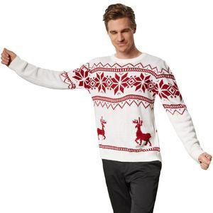 dressforfun Weihnachtspullover Winterland weiß-rot - L