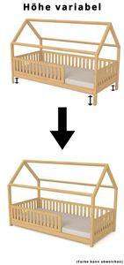 Hausbett Kinderbett 90 x 200 Kiefer Weiß