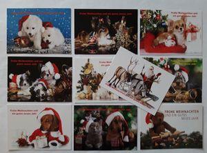 Ansichtskarten Weihnachten 10er, Postkarten Tiere Hund Katze Weihnachtsmann Grußkarte