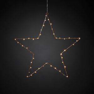 KONSTSMIDE LED Metallstern, kupferfarben, 5 Zacken, umwickelt, Timer, 50 LEDs bernstein, Innen