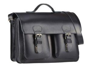 Ruitertassen kleine Aktentasche 38cm Herren Damen Leder Schultasche schwarz Lehrertasche 2 Fächer