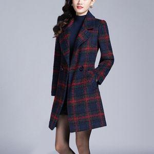 Wintermode Slim Coat Frauen Langärmeliger Casual Medium Long Slim Coat Größe:M,Farbe:Rot