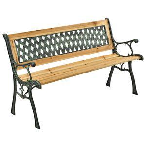 Juskys Gartenbank Pisa – 2-Sitzer Holzbank mit Armlehnen & Rückenlehne – wetterfeste Sitzbank 122x54x73 cm - Seitenelemente aus Gusseisen