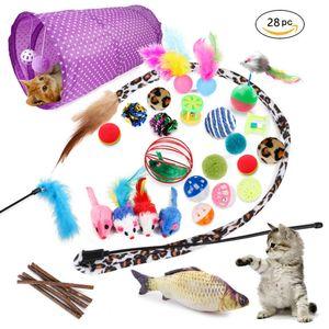 28x Katzenspielzeug Set mit Katzentunnel Jingle Bell Fisch Katzen Angel Mäusen
